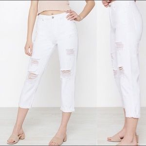 Pacsun High Waist White Distressed Crop Mom Jean